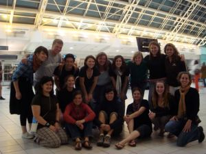 The volunteers travelling to Tanzania and Ghana ready to go at the airport! That's me in the front row on the far right.