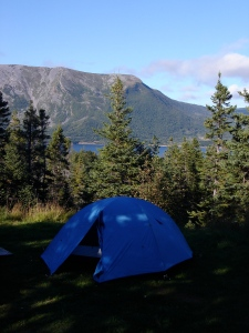 Our tent in gros morne park in NFLD.  Rad landscapes all around the park.