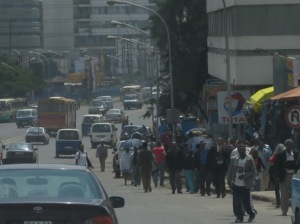 A bustling street in downtown Addis Ababa