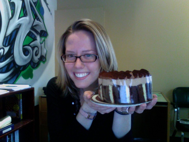 Sarah holding the delectable Dufflet chocolate mousse cake!