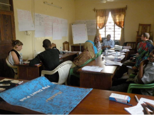 Members of ZANGOC's Gender Equality Team engage in discussion during ZANGOC's Gender Training Workshop.