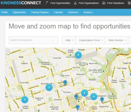 Kindness Connect's Map Search: a tool for finding opportunities in a user's area