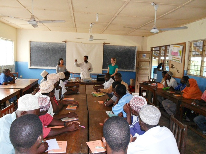 Justeen and I teaching a Climate Change workshop in Mwajuni (a village close to Nungwi)