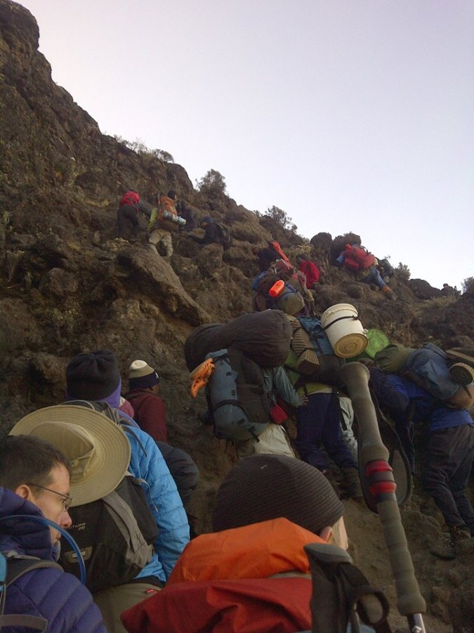 The Team climbing the Barranco Wall