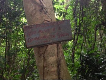 Danger! No Swimming at Boti Falls
