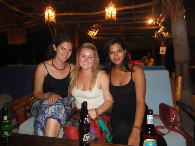 Ruby, Olivia, and Shivani at Kendwa Rocks