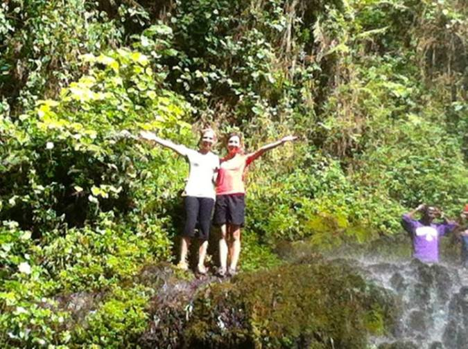 Danielle and Bhreagh at the top of the waterfall on Mount Meru