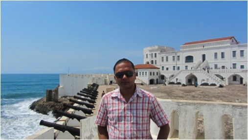 The Cape Coast Castle in the background