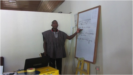 One of the participants presenting during the workshop