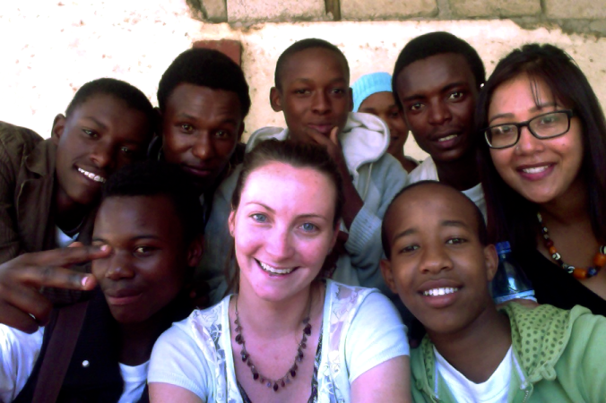 Natalie with students at the Umoja Centre