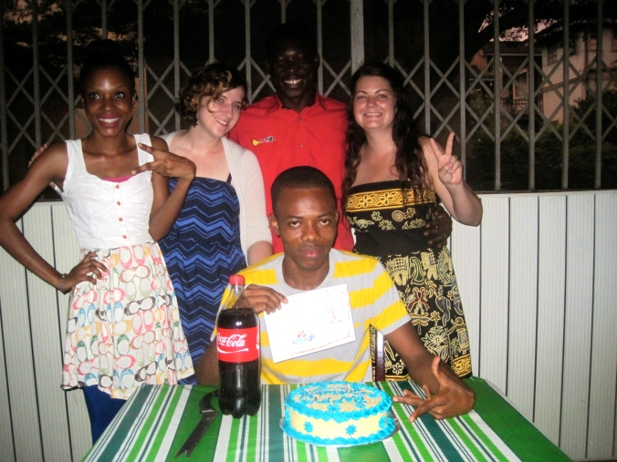 Celebrating Theo's birthday, from left to right Vera, Judy, William, Nicole and Theo in the middle front